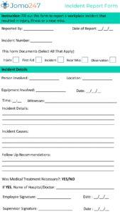 Incident Report Form pdf